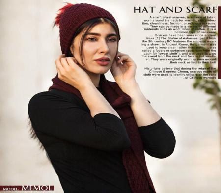 ست کلاه و شال گردن دخترانه Memol( زرشکی)